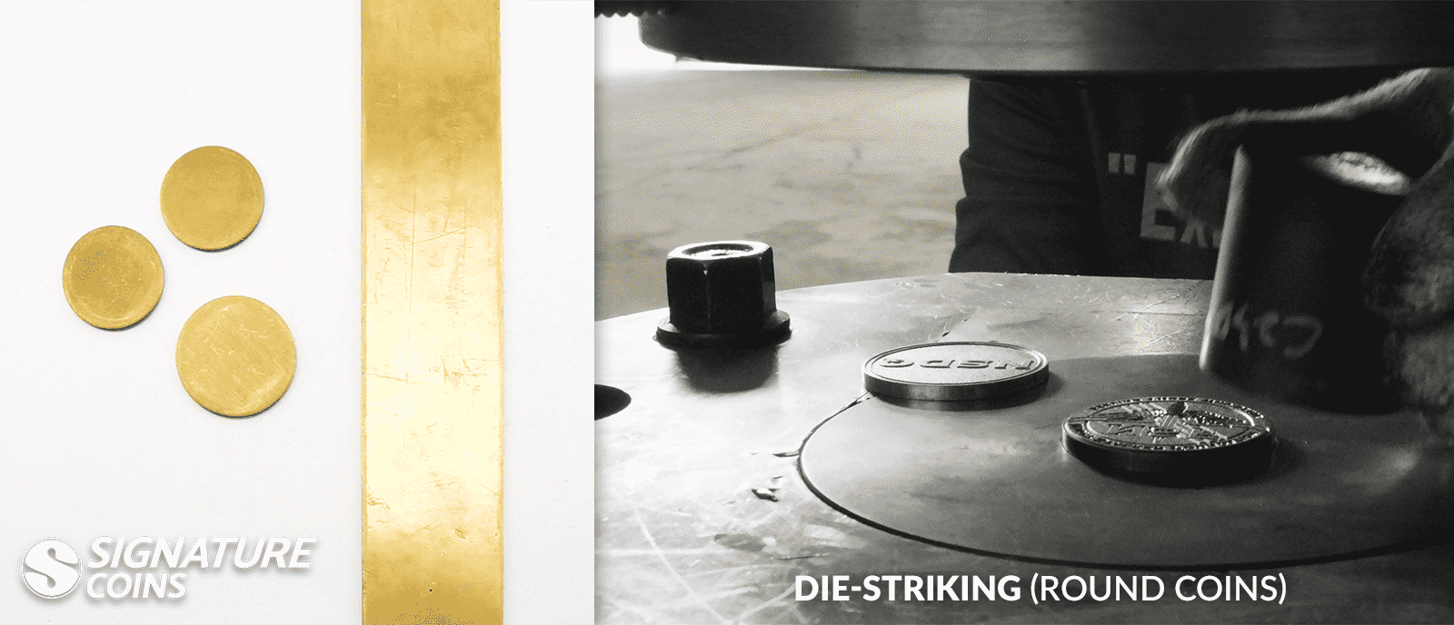 round coin die striking