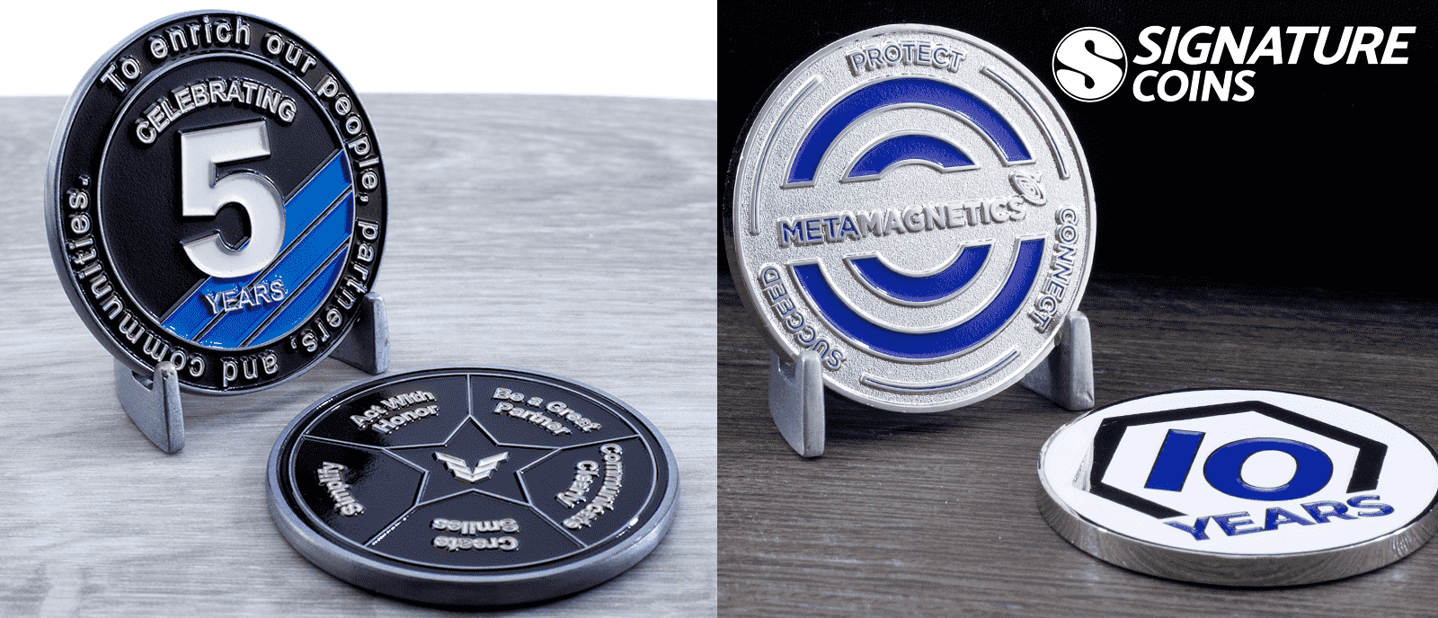 years of service challenge coins by Signaturecoins4