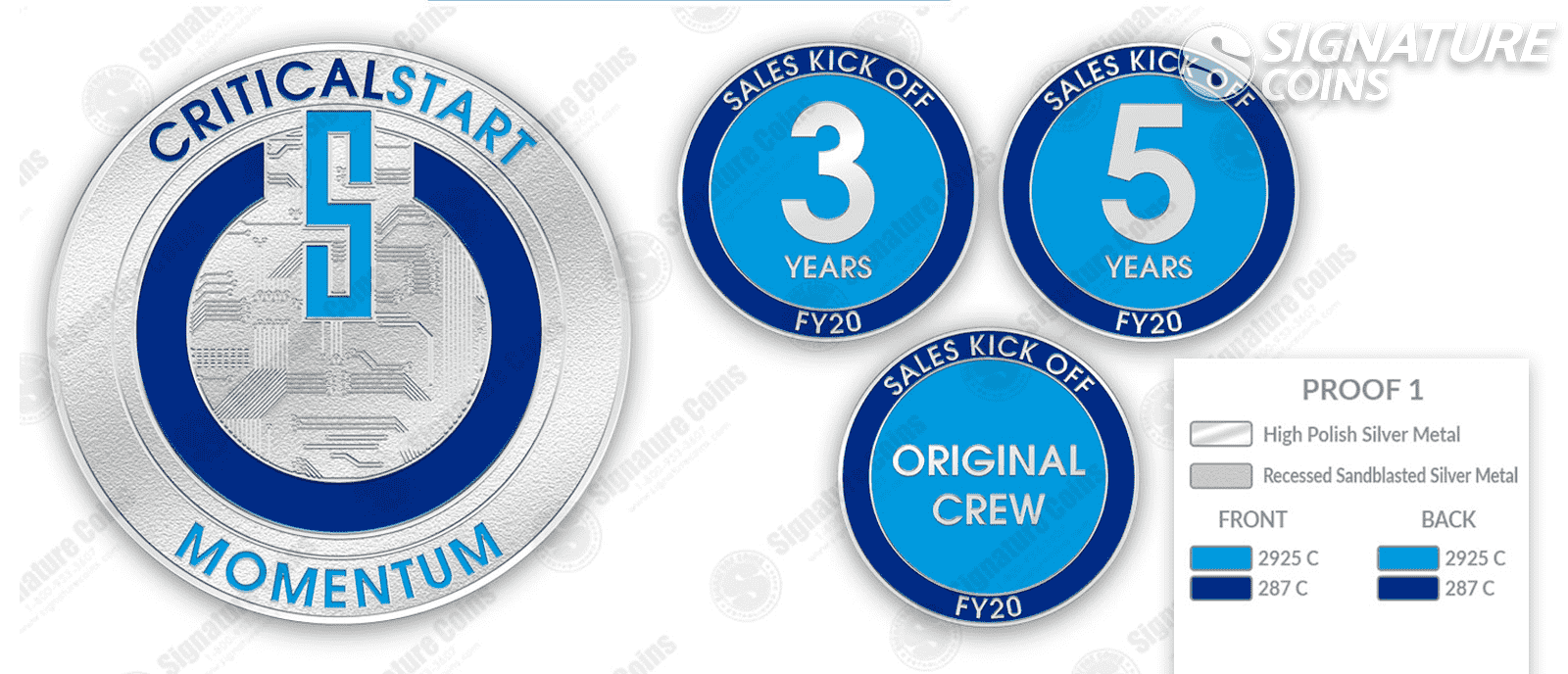 Years of Service Page challenge coins by signature coins