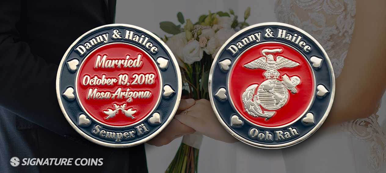 To Have and To Hold Engravable Antique Silver Wedding Challenge Coin /& Stand.